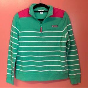 Vineyard Vines Shep Shirt Green Striped with Pink